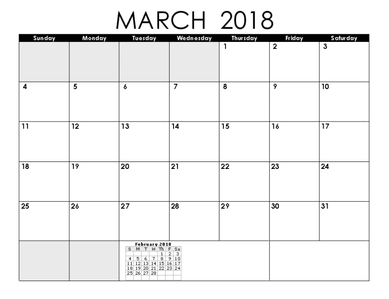 March February 2018 Calendar Template