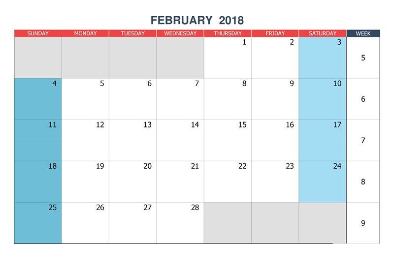 Monthly 2018 Printable February Calendar