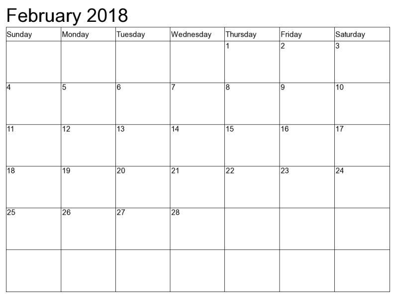 Monthly February 2018 Calendar