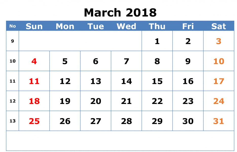 Monthly March Calendar 2018 Printable