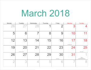 Moon Phases March 2018 Calendar