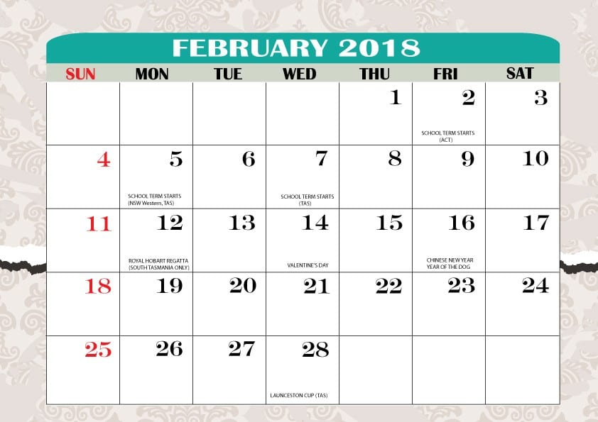 Printable Calendar February 2018 free download