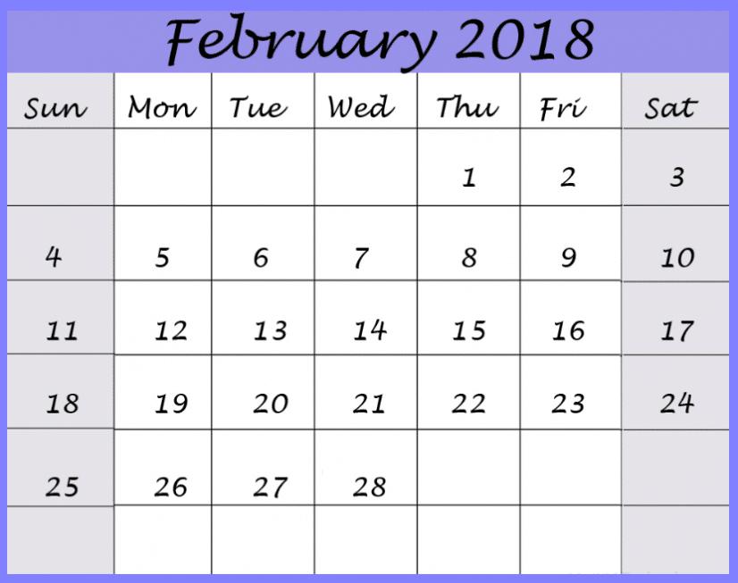 Printable Calendar February 2018 free pdf