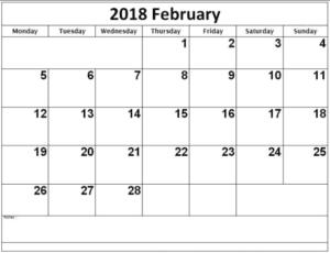 Printable Calendar February 2018 images
