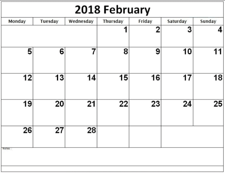 Printable Calendar February 2018 images