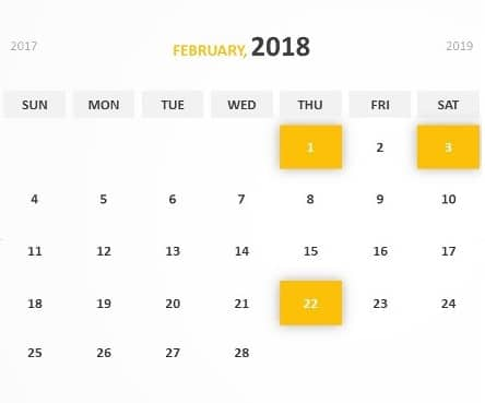 Printable February 2018 Calendar template