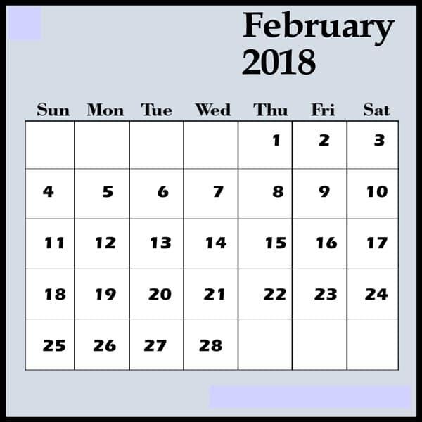Printable February 2018 Calendar free excel