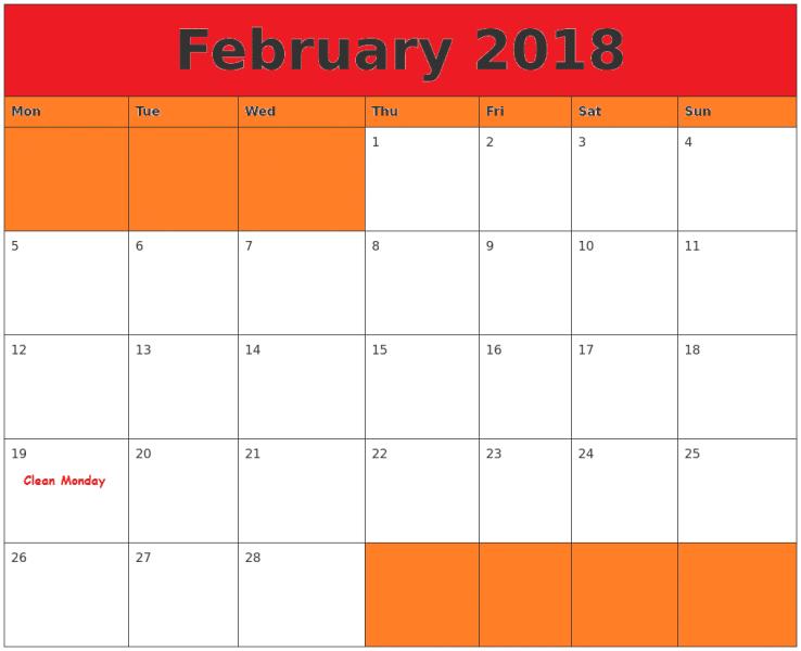 Printable February 2018 Calendar portrait