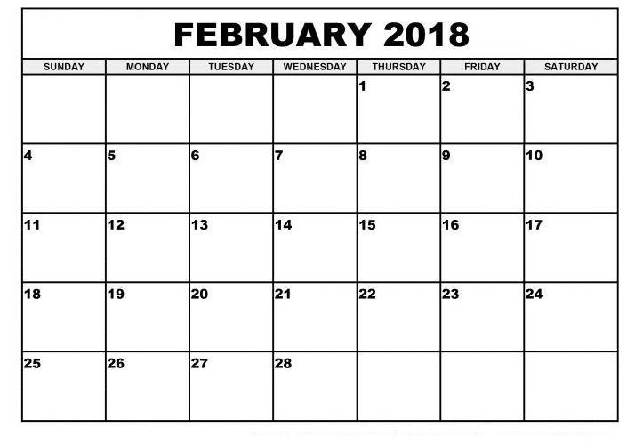 Printable February 2018 Calendar pdf