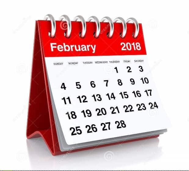 Printable February 2018 Calendar free download