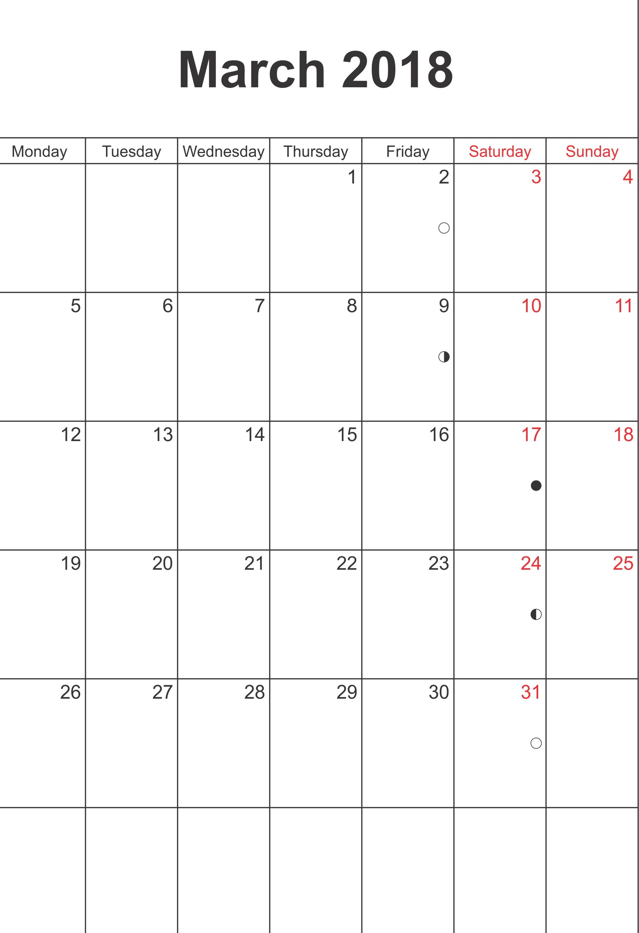 Printable March 2018 Calendar Template
