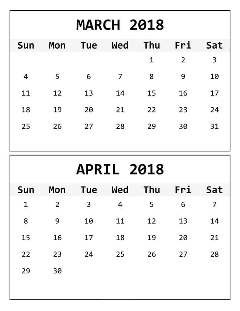 Printable March April 2018 Calendar