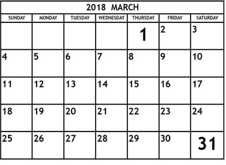 Printable March Calendar 2018