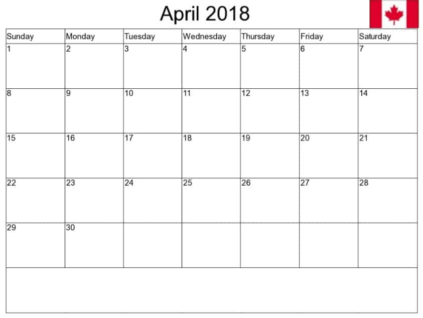 April 2018Calendar Template