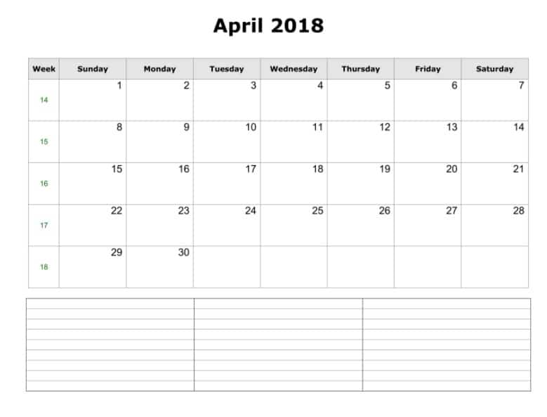 April 2018 Calendar Notes Template Free Hd Images