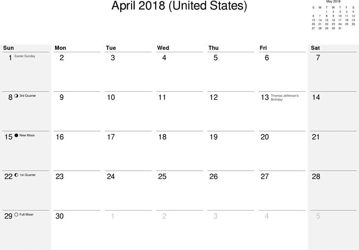 April 2018Calendar Printable