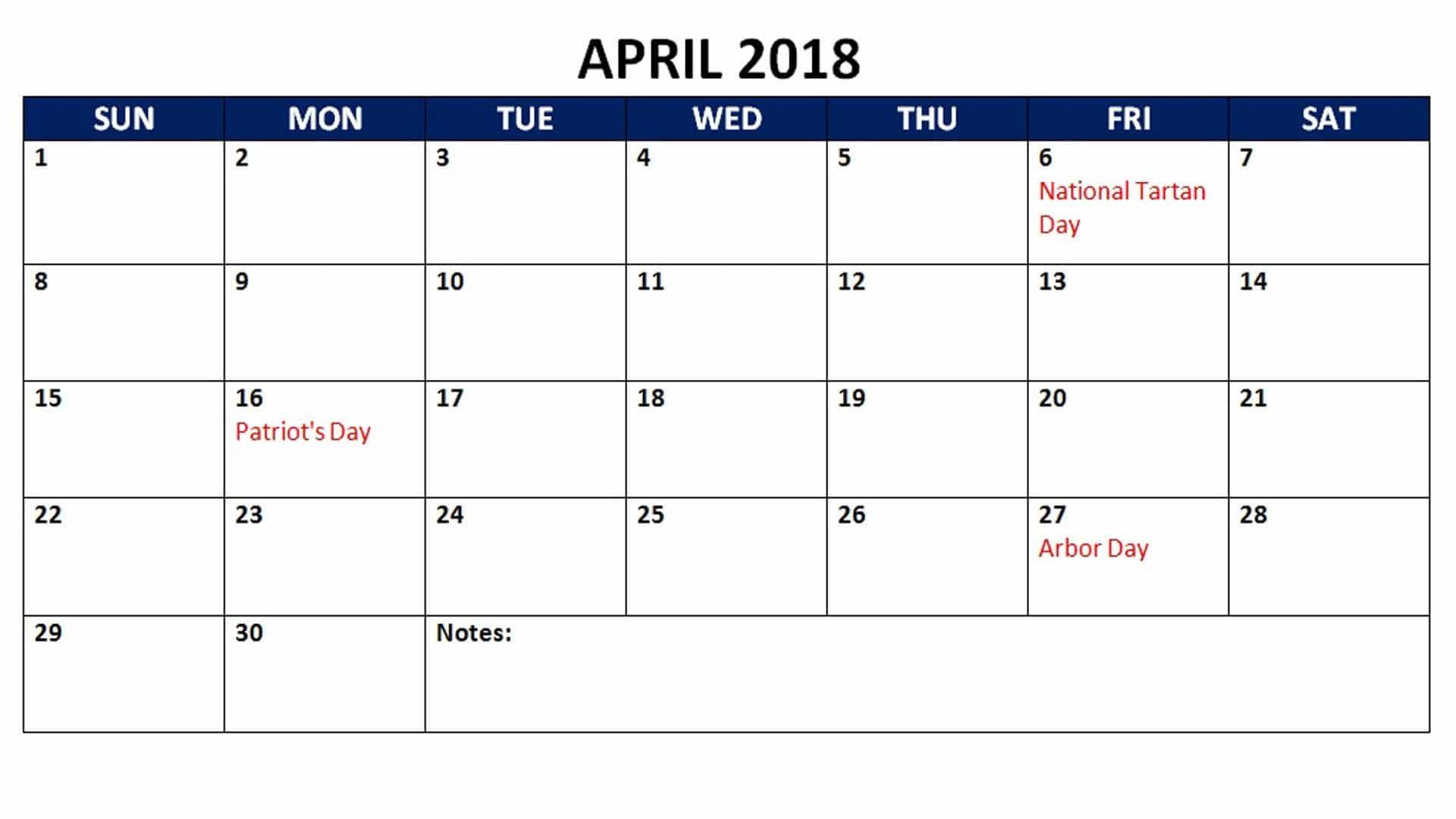 April 2018Calendar