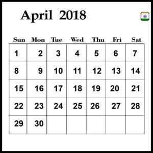 2018 April Calendar