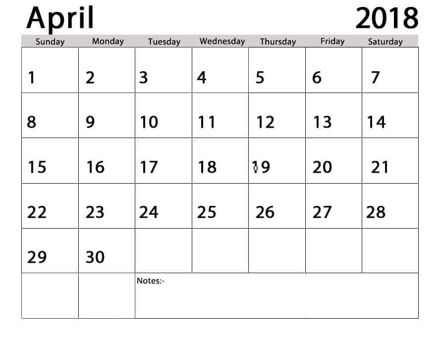 April 2018 Calendar With Holidays