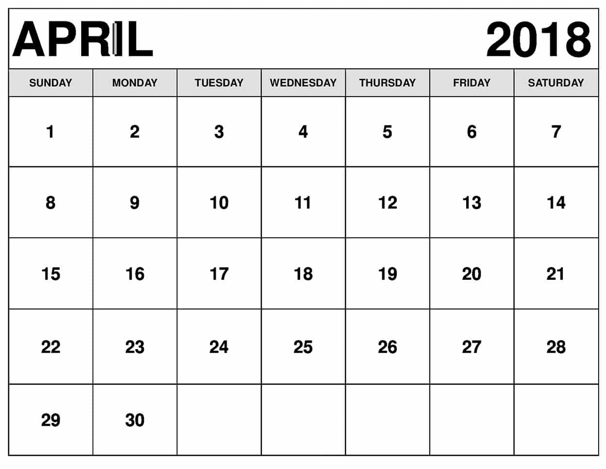 April 2018 Monthly Calendar