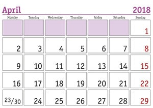 April 2018Monthly Calendar