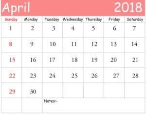 April 2018Printable Calendar