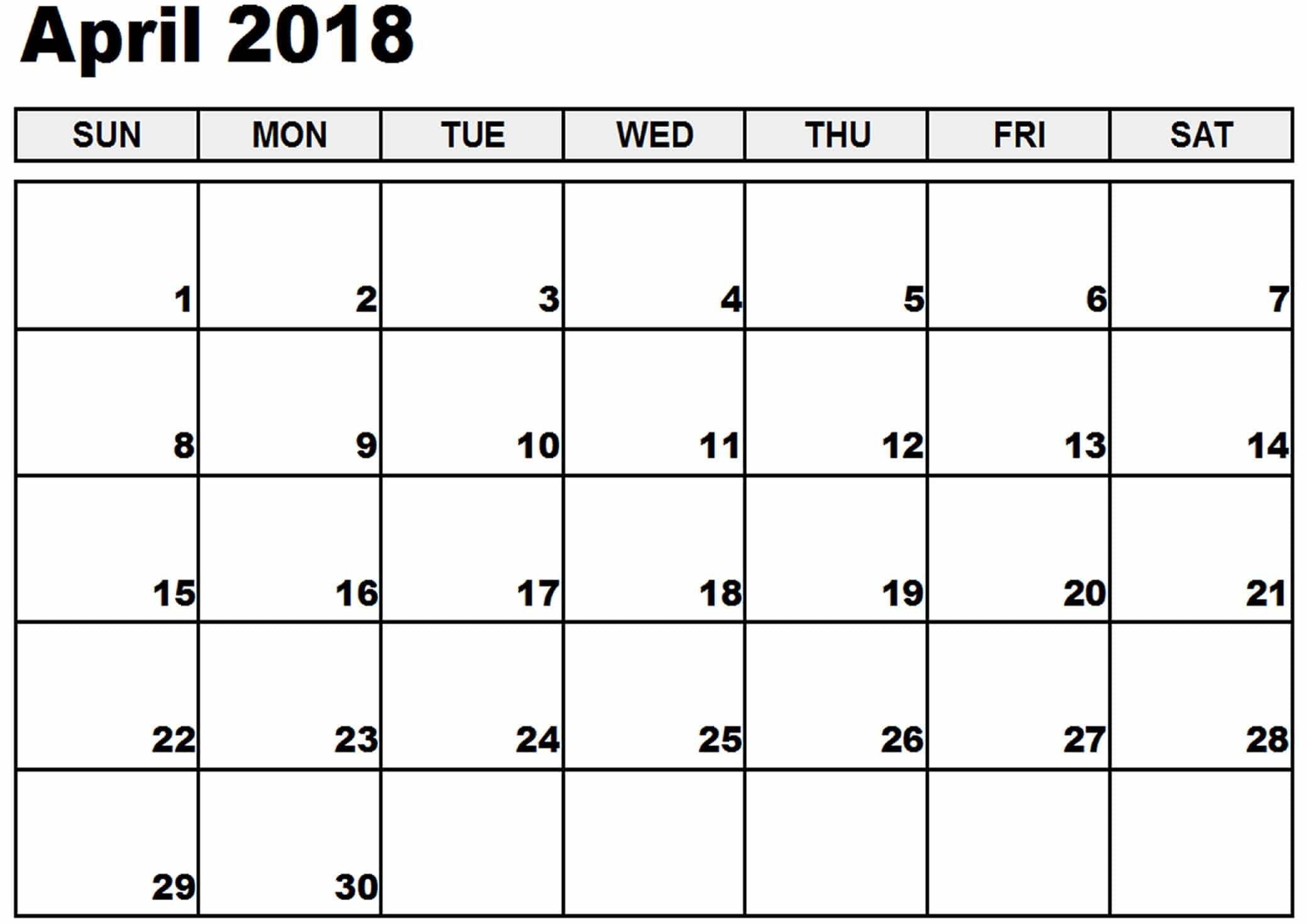 Online Printable April 2018 Calendar   Free HD Images