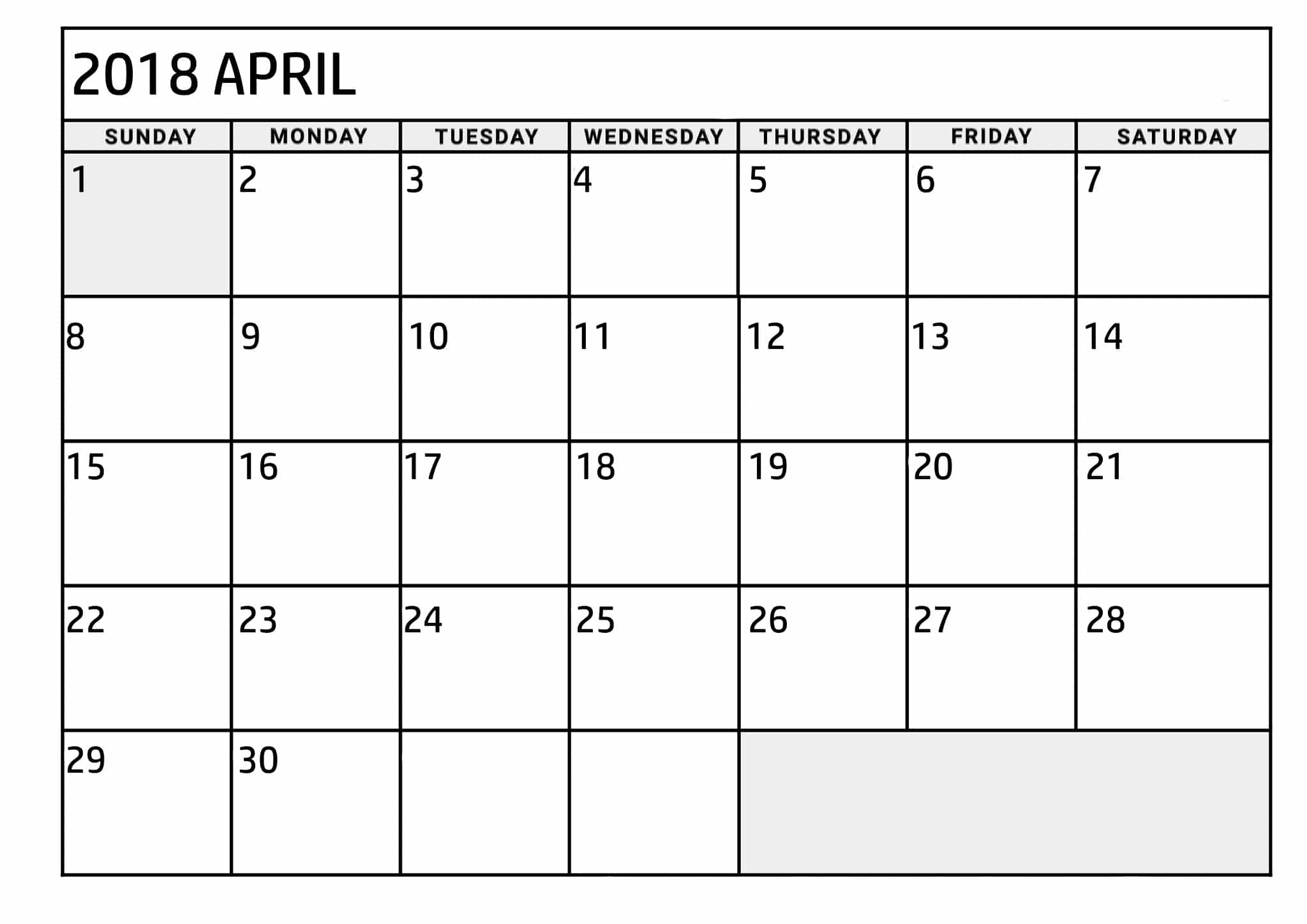 April 2018 Printable Calendar