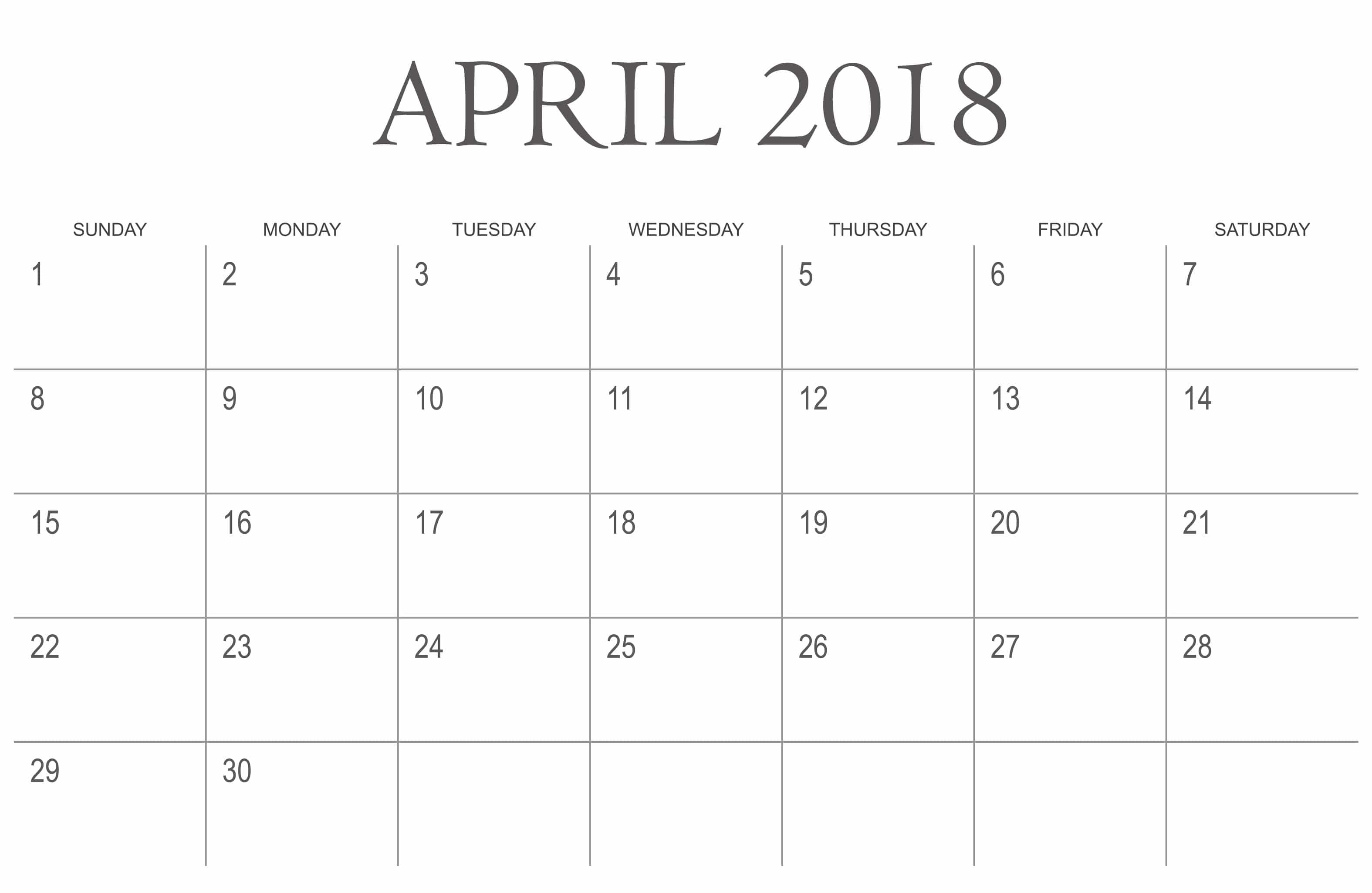 Daily Calendar 2018 Download : Quote images printable april calendar free template