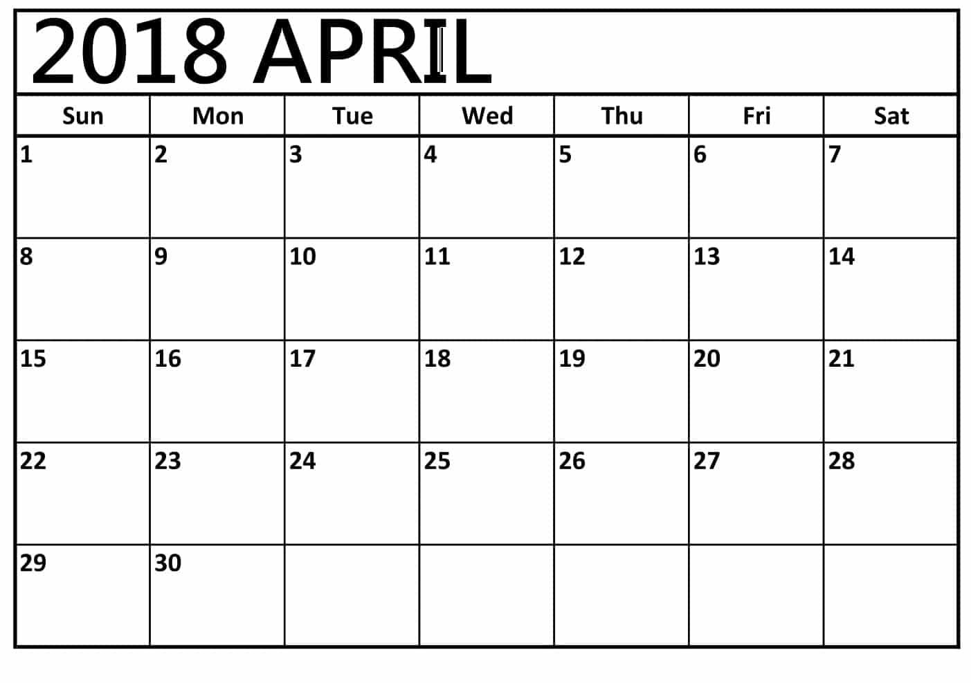 Printable April 2018 Calendar