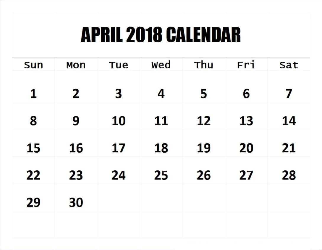 Blank April Calendar