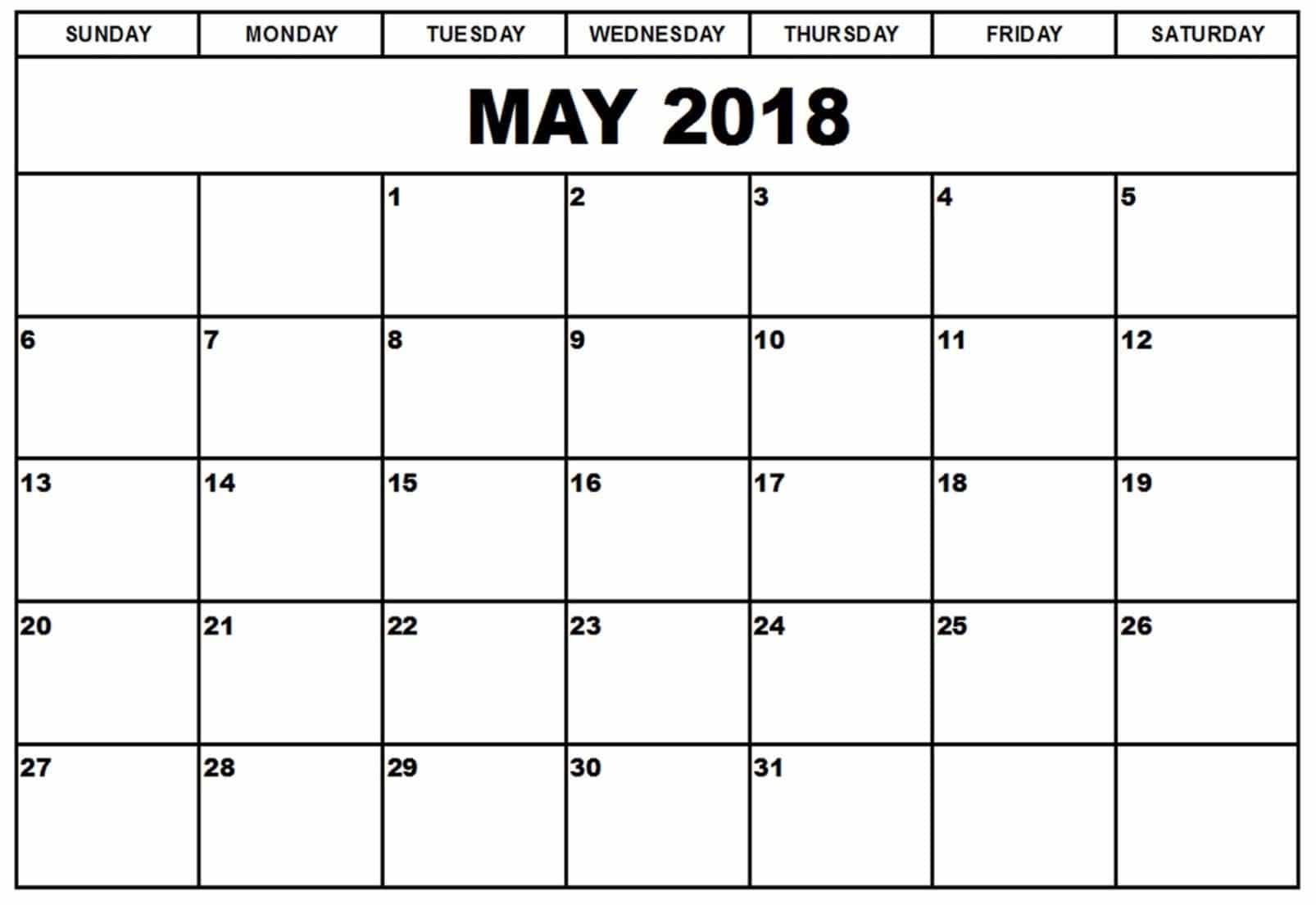 2018 May Calendar Decoration
