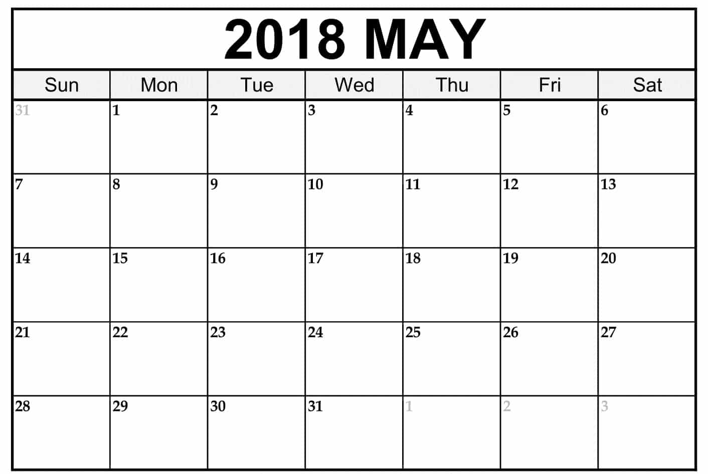 2018 May Calendar Decoration
