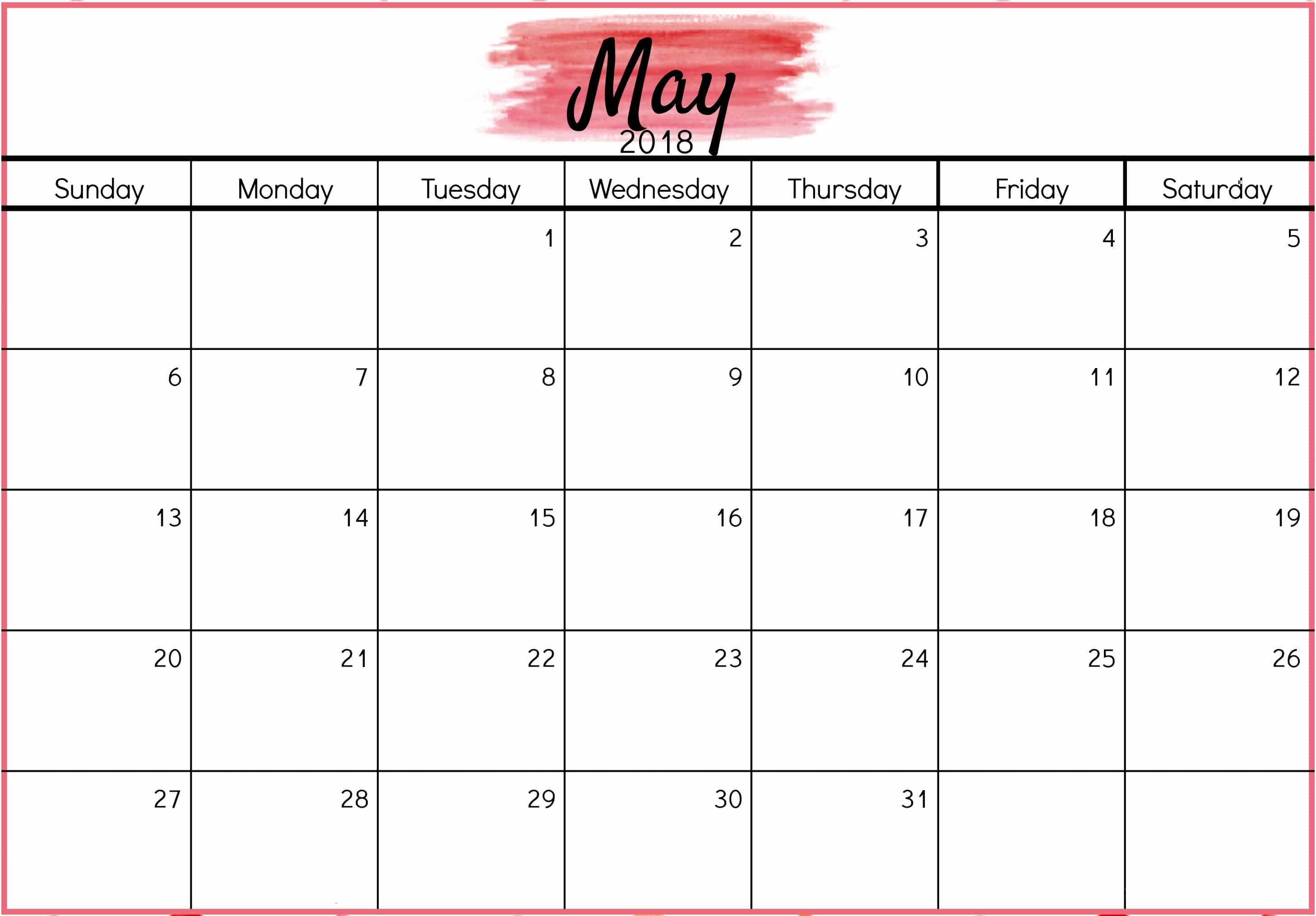 2018 May Calendar Design