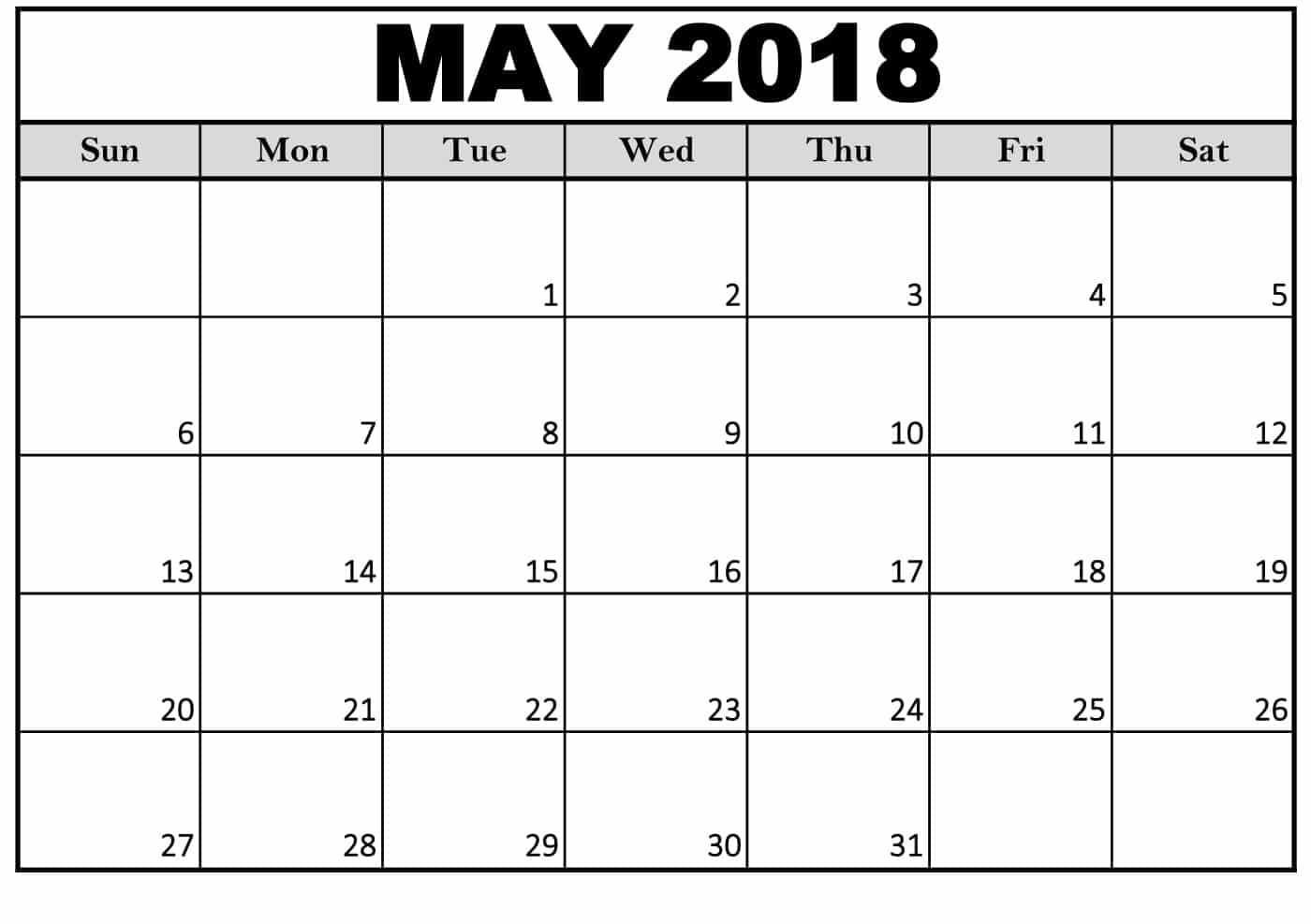 2018 May Calendar Fancy