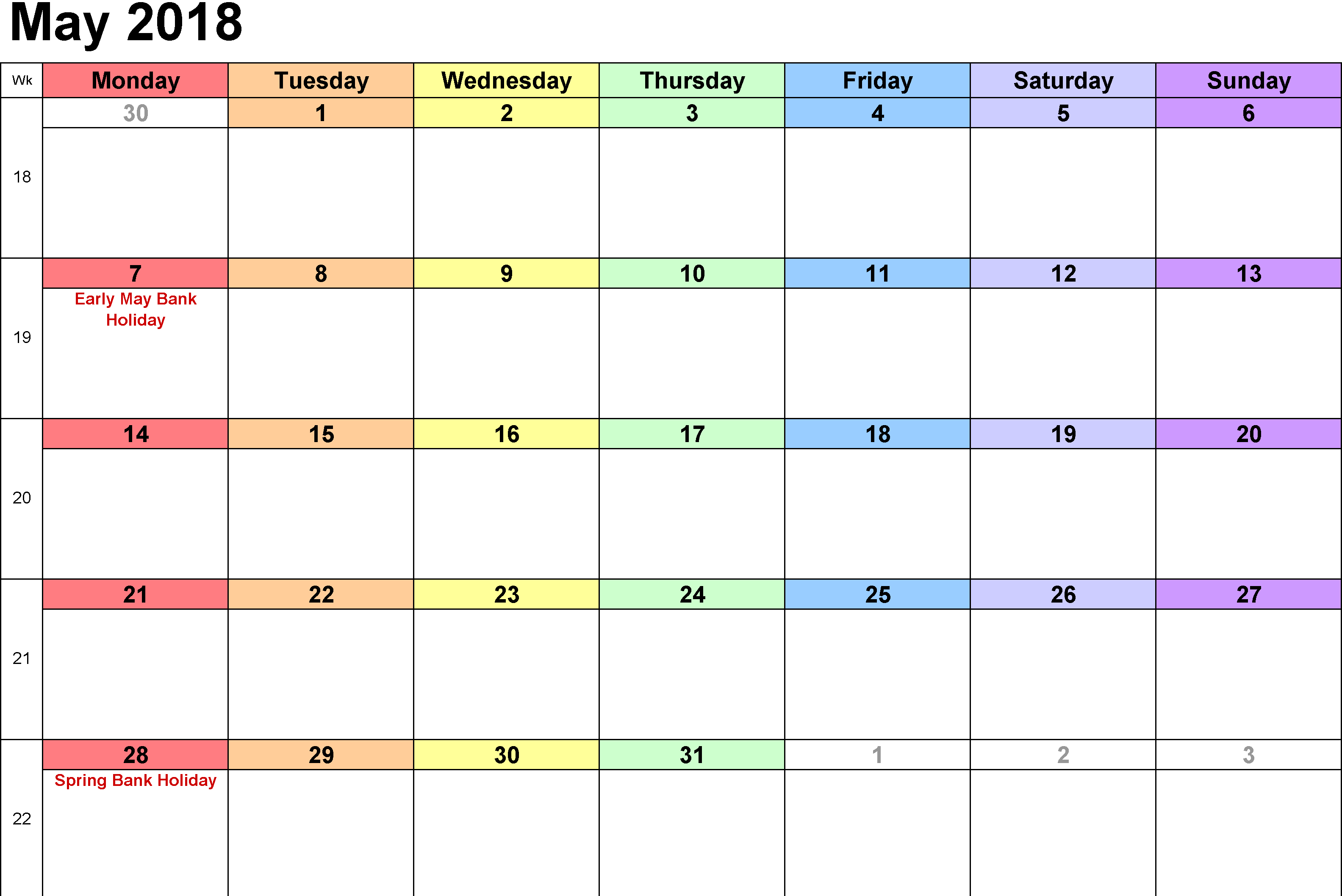 2018 May Calendar Monthly