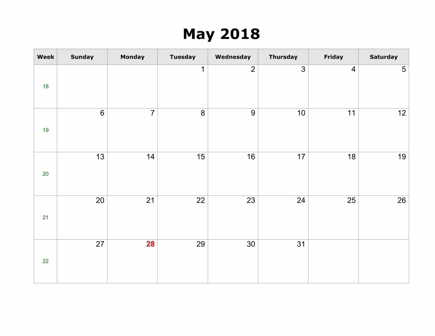 2018 May Calendar Simple