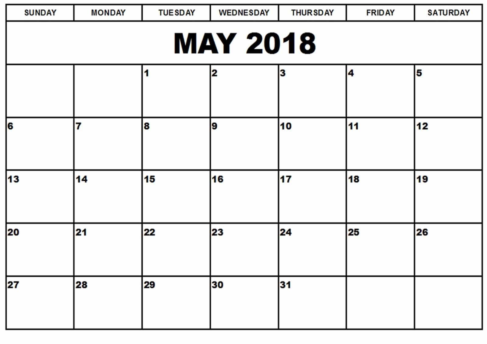2018 May Calendar Template