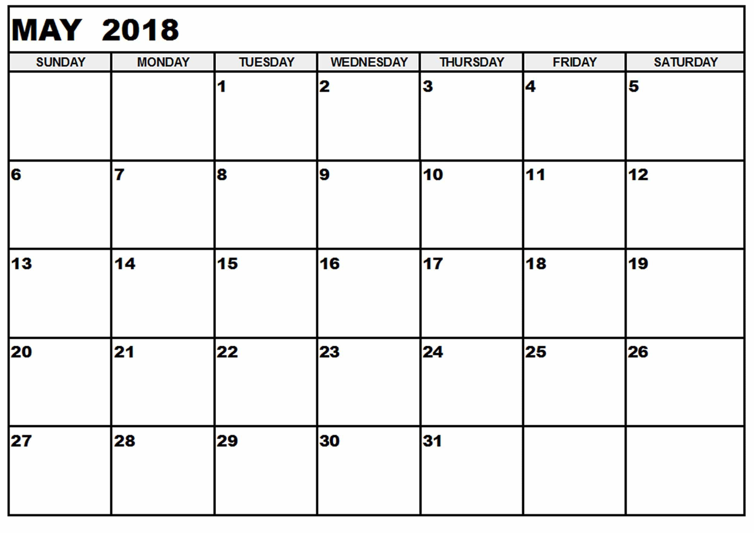 2018 May Calendar Weak Number