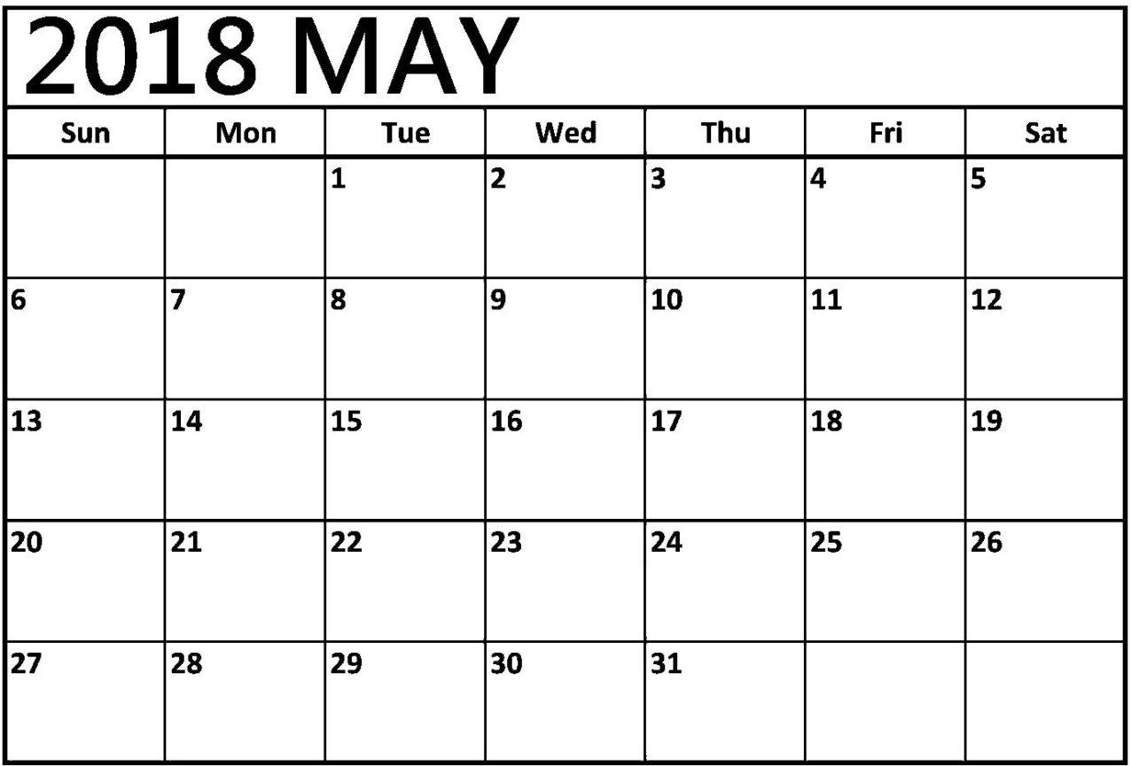 2018 May Calendar Weakly