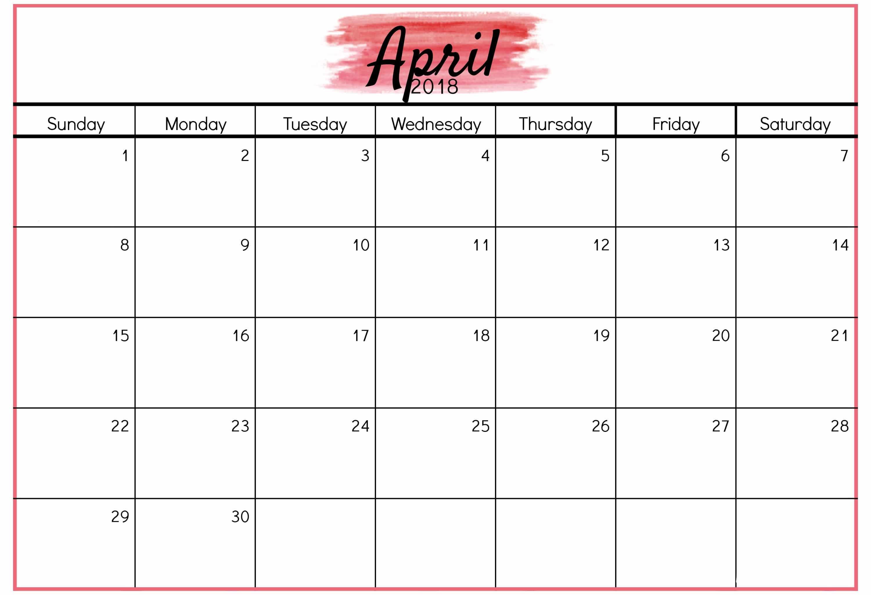 April Calendar Template