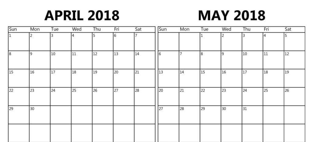 April May Calendar