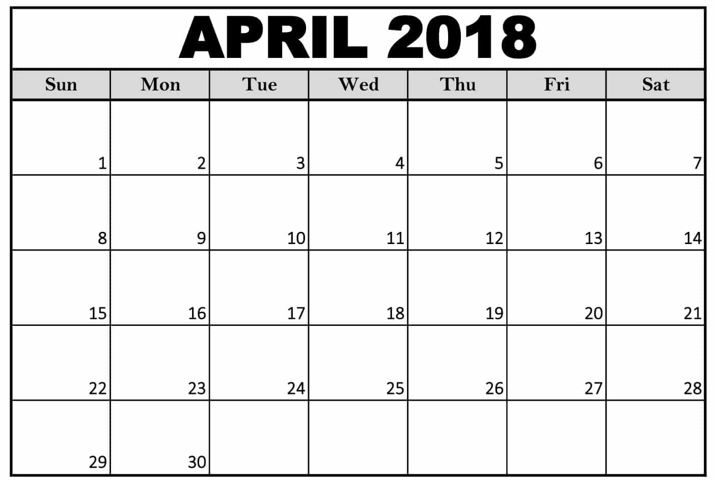 Blank April Calendar 2018