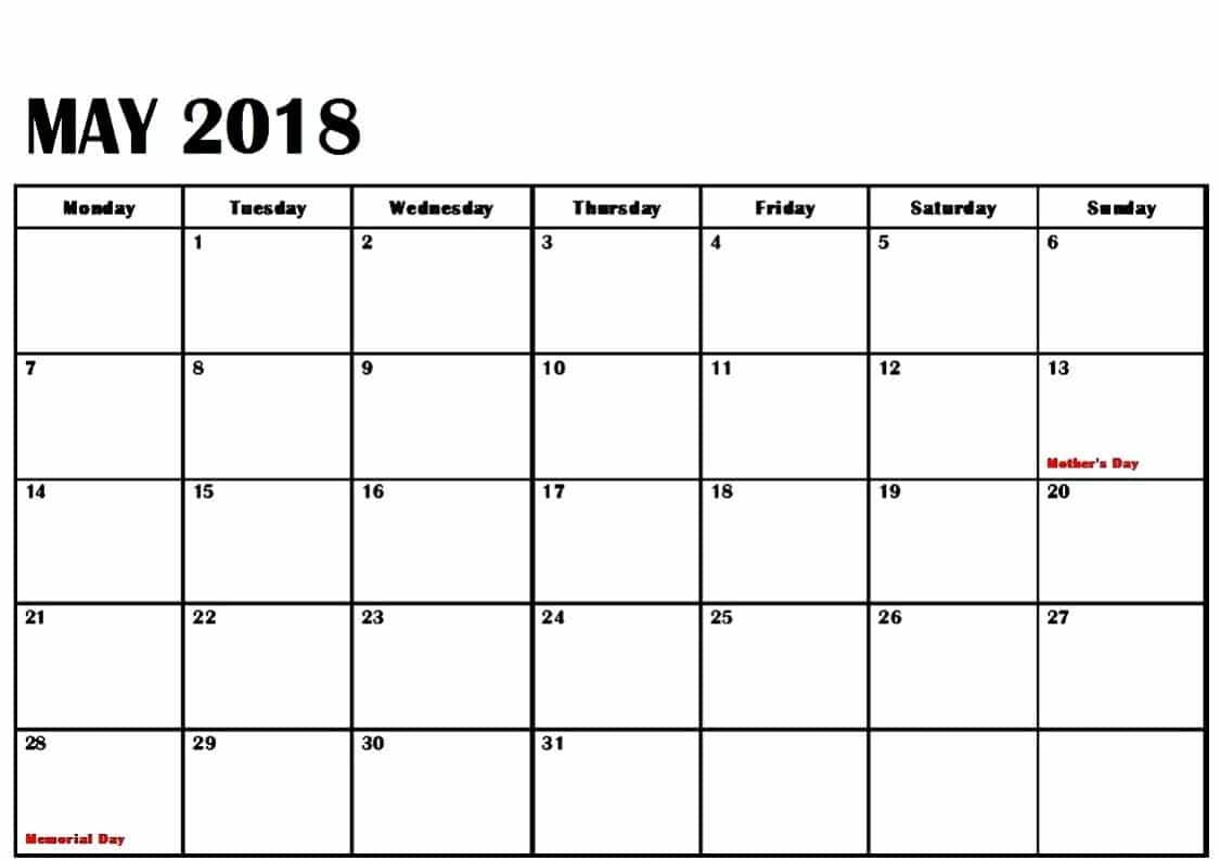 Blank May 2018 Calendar Table