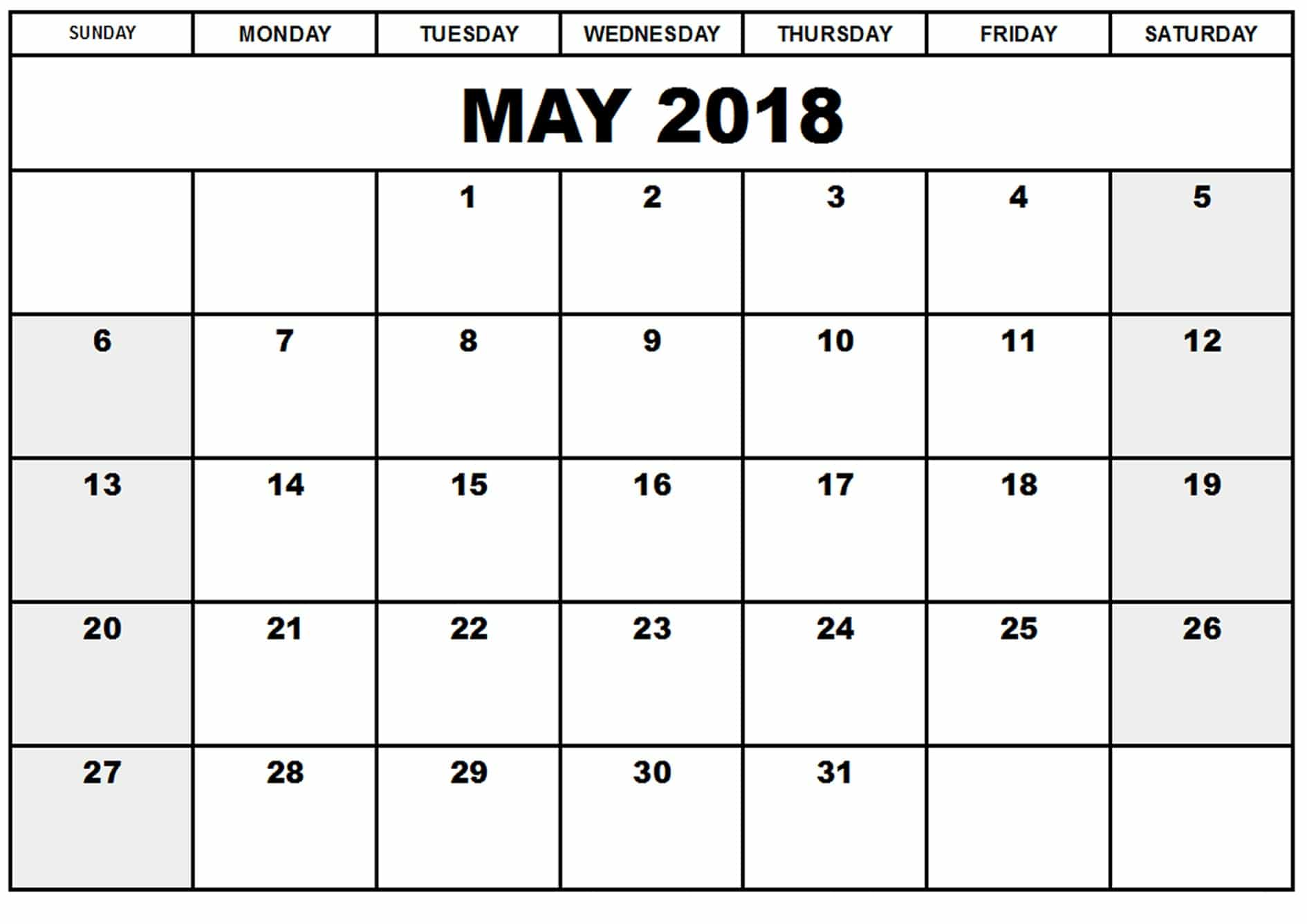 Blank May 2018 Calendar With Holidays
