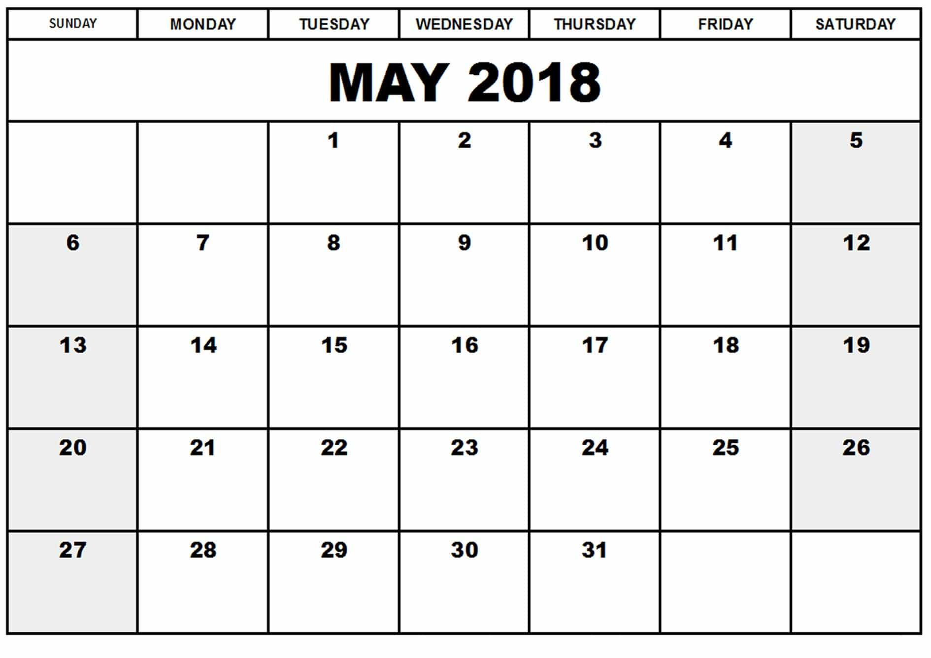 Blank May 2018 Calendar With Holidays