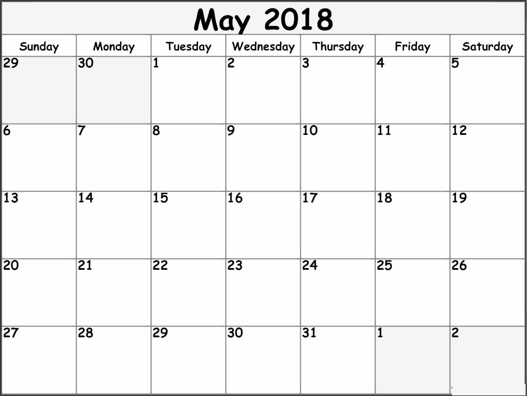 Blank May 2018 Calendar Word