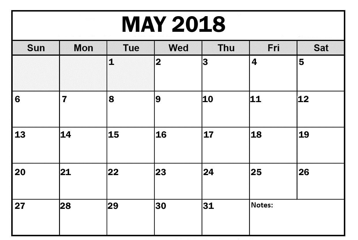 Blank May 2018 Calendar Cute