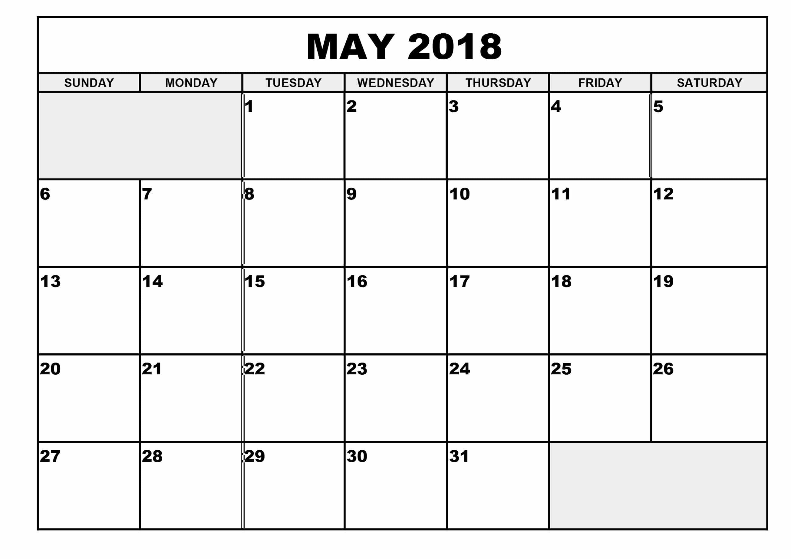 Blank May 2018 Calendar Weakly