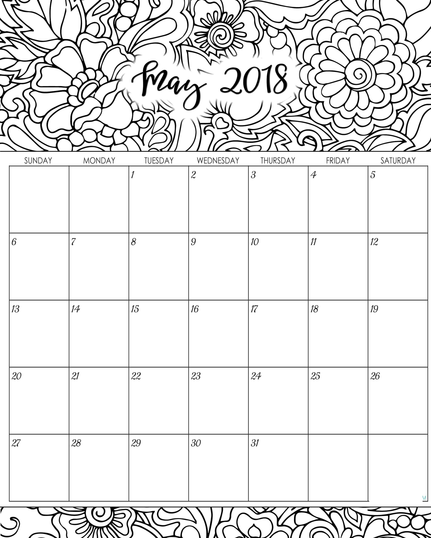 Blank May 2018 Calendar